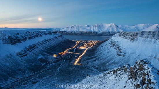 cityscape over longyearbyen