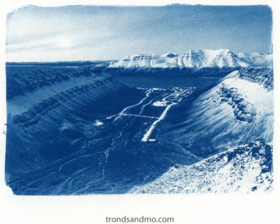 longyearbyen svalbard in cyanotype