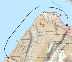 Map Grumant Longyearbyen